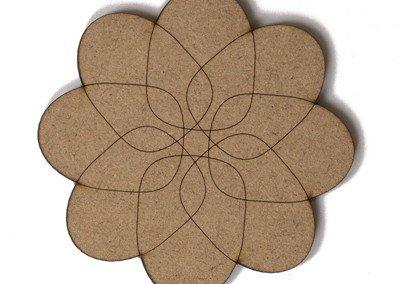 FLOWER engraved Onderzetter Tafel - MDF