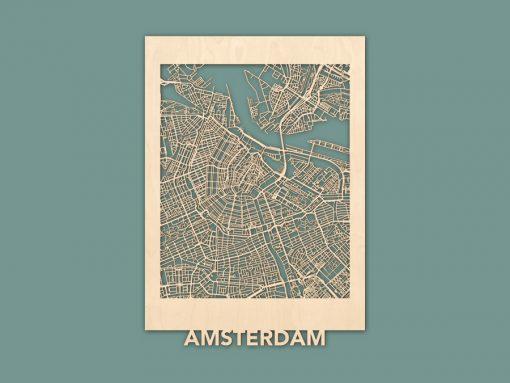 Citymap Amsterdam Berken (50x70) RENDER