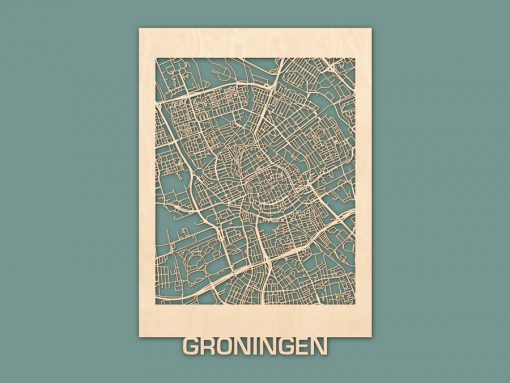Citymap Groningen berken 50x70 render