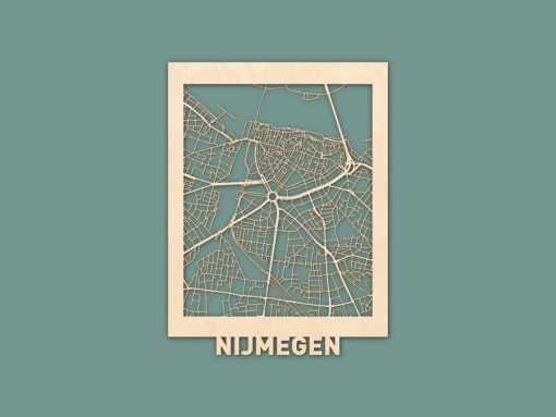 citymap Nijmegen berken 30x40cm render