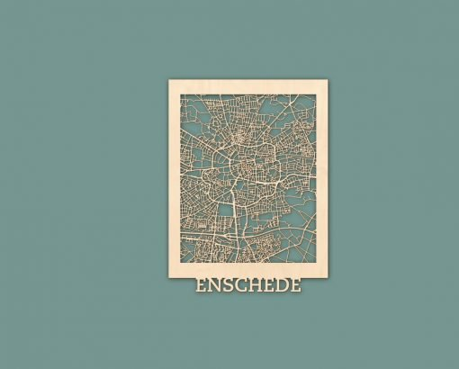 Citymap Enschede 30x40 cm Berken RENDER