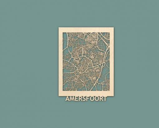 Citymap Amersfoort 30x40 cm Berken RENDER
