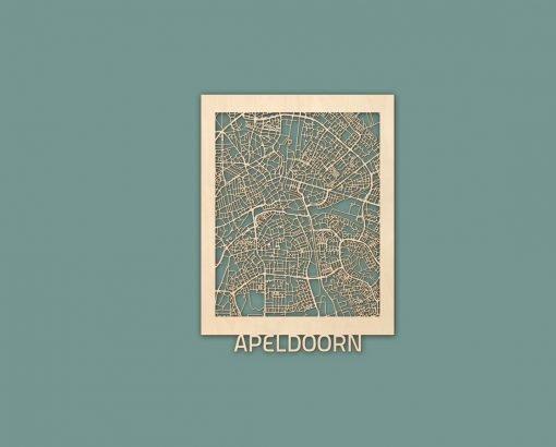 Citymap Apeldoorn 30x40 cm Berken RENDER