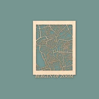 Citymap Bergen op Zoom 30x40 cm Berken RENDER