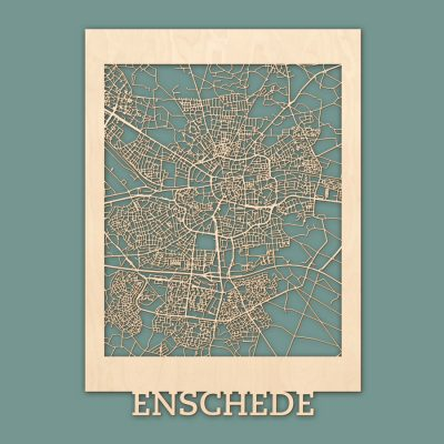 Citymap Enschede 50x70 cm Berken RENDER