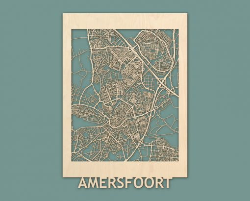Citymap Amersfoort 50x70 cm Berken RENDER