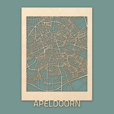 Citymap Apeldoorn 50x70 cm Berken RENDER