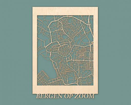 Citymap Bergen op Zoom 50x70 cm Berken RENDER