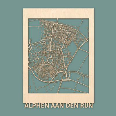 Citymap Alphen aan de Rijn 50x70cm Berken Render