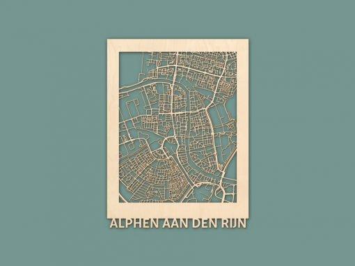 Citymap Alphen aan de Rijn 30x40cm Berken Render