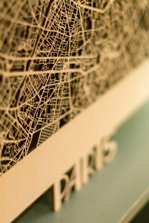 Citymap Paris 50x70 Berken detail