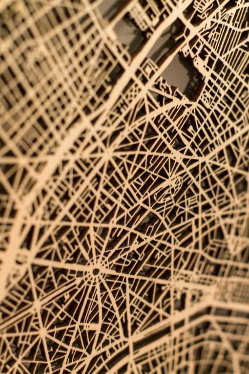 Citymap Paris 50x70 Berken Detailfoto