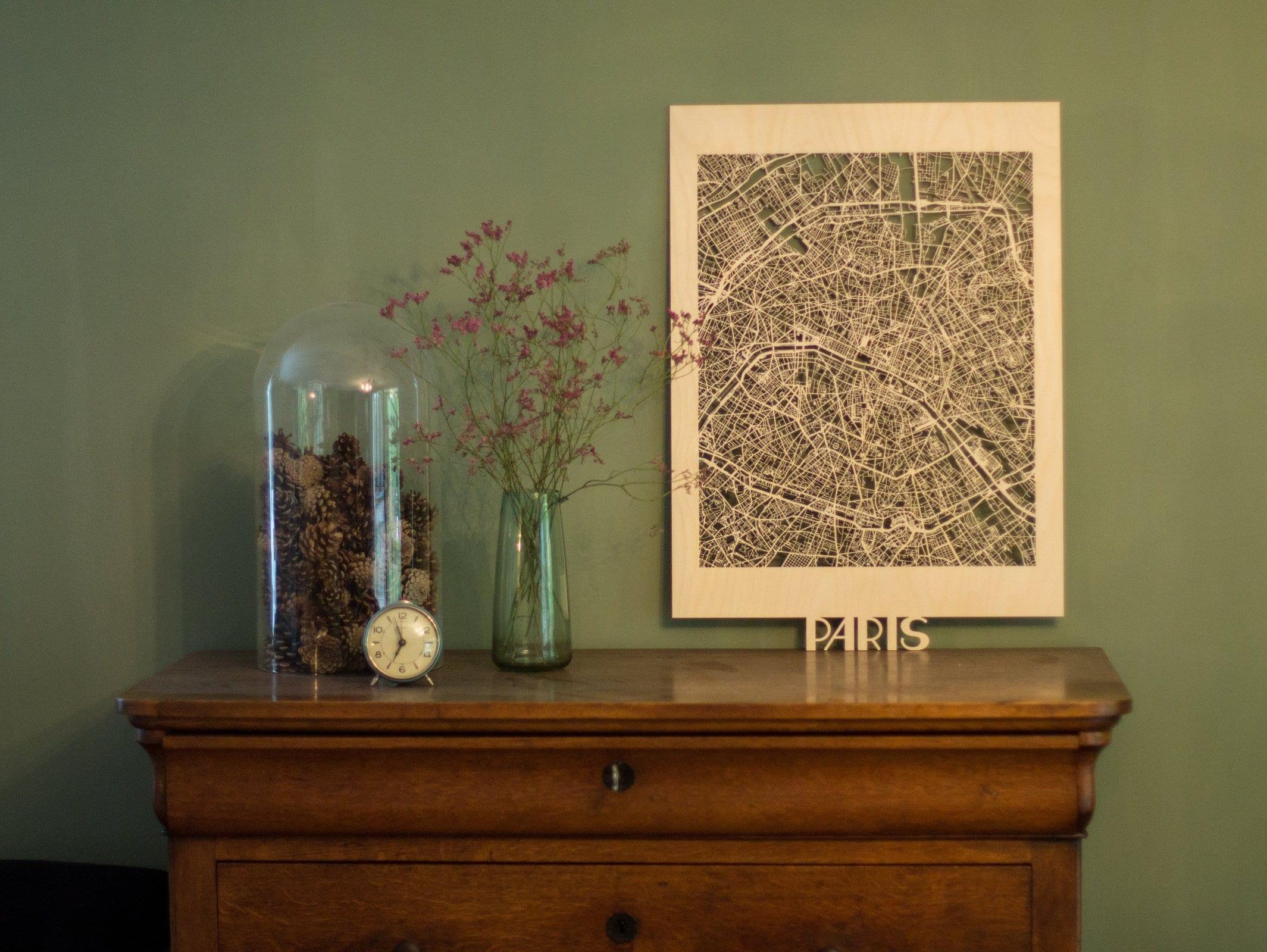 Citymap paris 50x70cm maackt - Decoratie themakamer paris ...