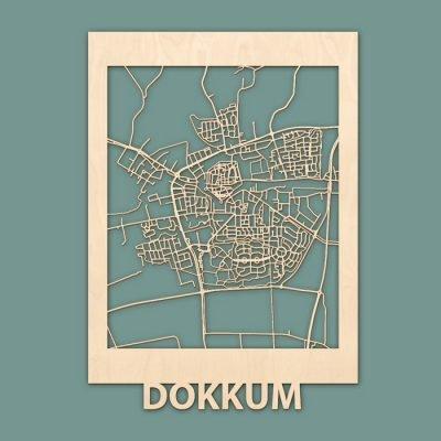 Citymap Dokkum 50x70cm Berken (RENDER)