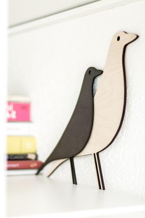 Vogel 3mm zwart MDF (M) en 6mm Berken (L)