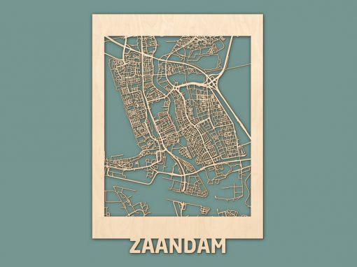 Citymap Zaandam 50x70cm Berken RENDER