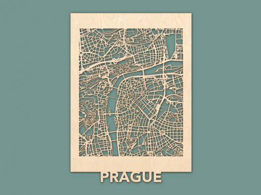 Citymap Praag Berken (50x70cm) RENDER