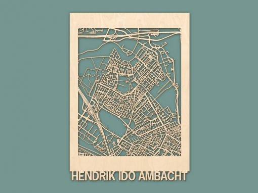 Citymap Hendrik-Ido-Ambacht Berken (50x70cm) RENDER