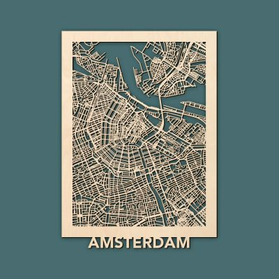 Amsterdam Citymap 50x70cm Berken Render