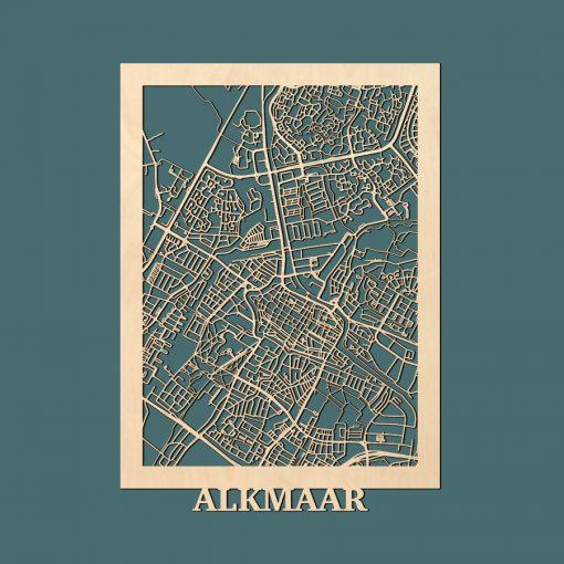 Alkmaar Citymap 50x70cm Berken Render