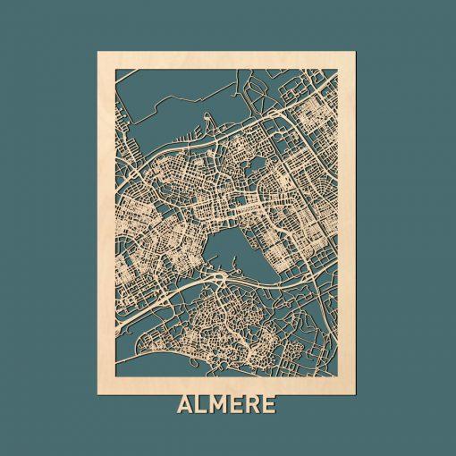 Almere Citymap 50x70cm Berken Render