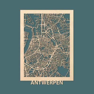 Antwerpen Citymap 50x70cm Berken Render