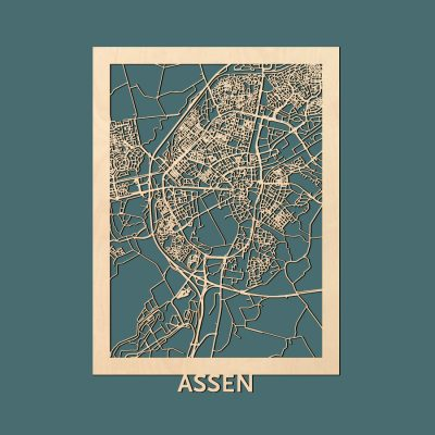 Assen Citymap 50x70cm Berken Render