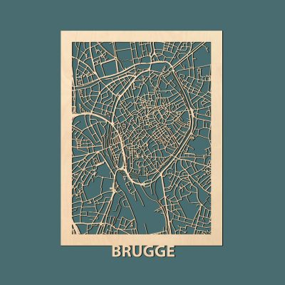Brugge Citymap 50x70cm Berken Render