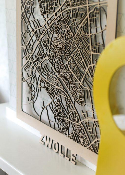 Citymap Zwolle MDF 50x70cm