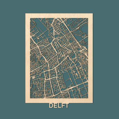 Delft Citymap 50x70cm Berken Render