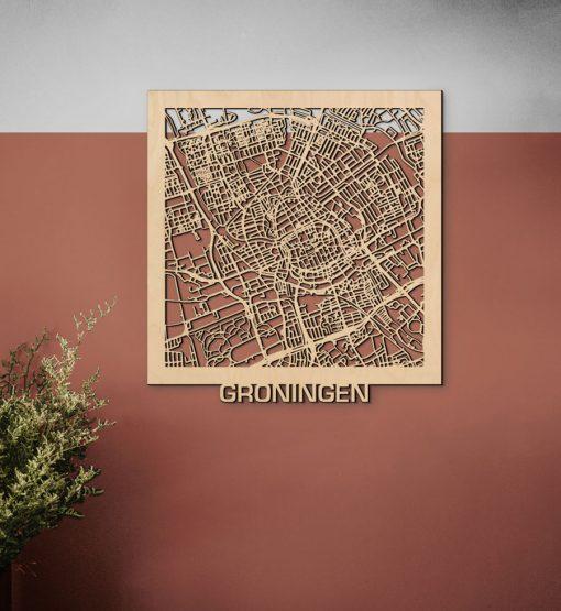 Groningen Citymap 50x53cm Berken