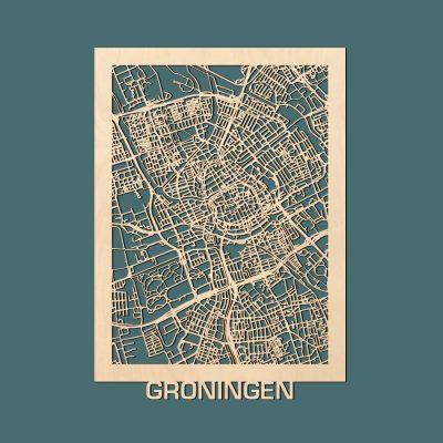 Groningen Citymap 50x70cm Berken Render