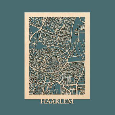 Haarlem Citymap 50x70cm Berken Render