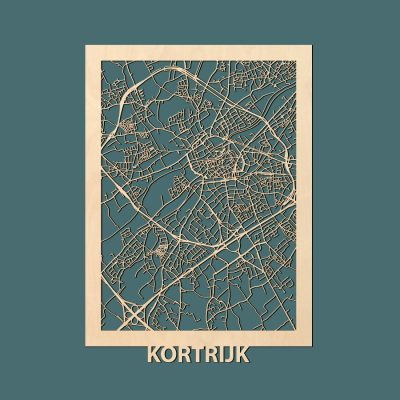 Kortrijk Citymap 50x70cm Berken Render
