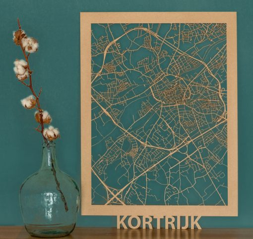 Kortrijk Citymap 50x70cm MDF