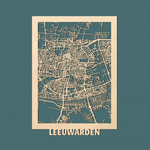 Leeuwarden Citymap 50x70cm Berken Render