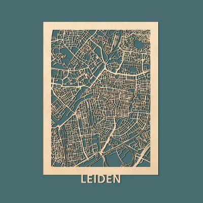 Leiden Citymap 50x70cm Berken Render
