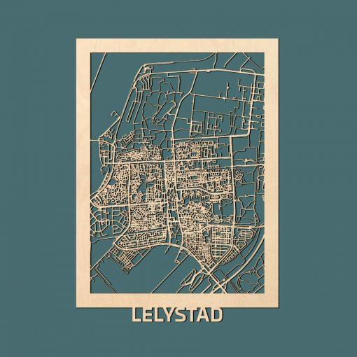 Lelystad Citymap 50x70cm Berken Render