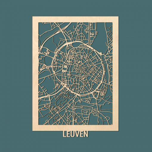 Leuven Citymap 50x70cm Berken Render