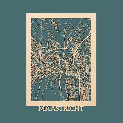 Maastricht Citymap 50x70cm Berken Render