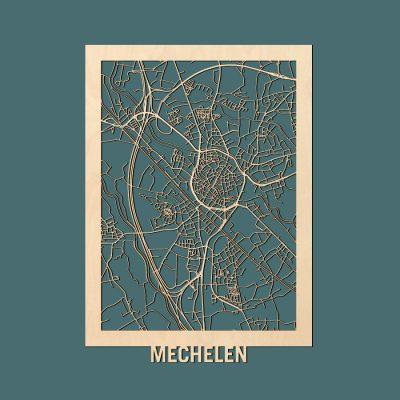 Mechelen Citymap 50x70cm Berken Render
