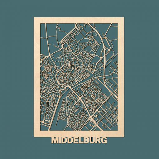 Middelburg Citymap 50x70cm Berken Render