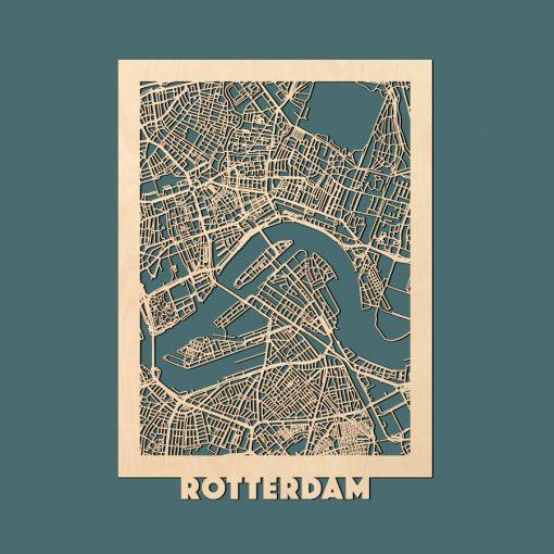 Rotterdam Citymap 50x70cm Berken Render