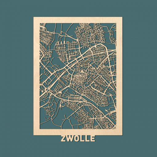 Zwolle Citymap 50x70cm Berken Render