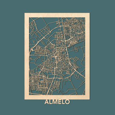 Almelo Citymap 50x70cm Berken Render