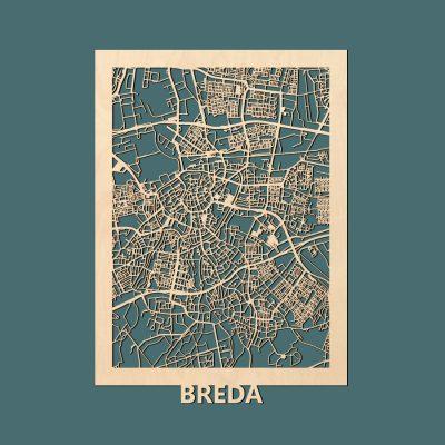 Breda Citymap 50x70cm Berken Render