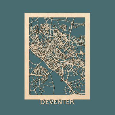 Deventer Citymap 50x70cm Berken Render