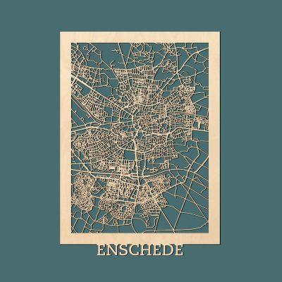 Enschede Citymap 50x70cm Berken Render