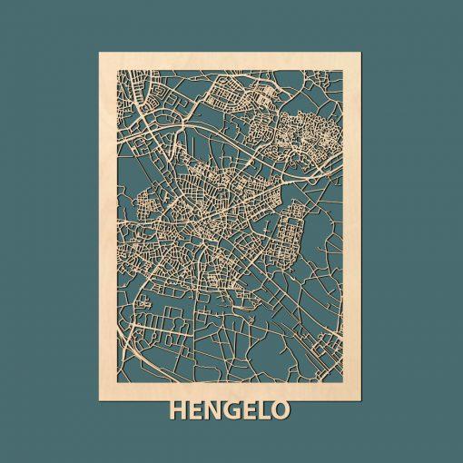 Hengelo Citymap 50x70cm Berken Render