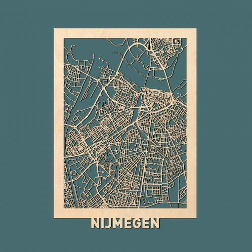 Nijmegen Citymap 50x70cm Berken Render